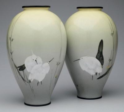 A pair of cloisonné-enamel vas